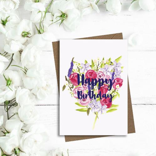 Happy Birthday Card Birthday Card Floral Birthday Card Mum