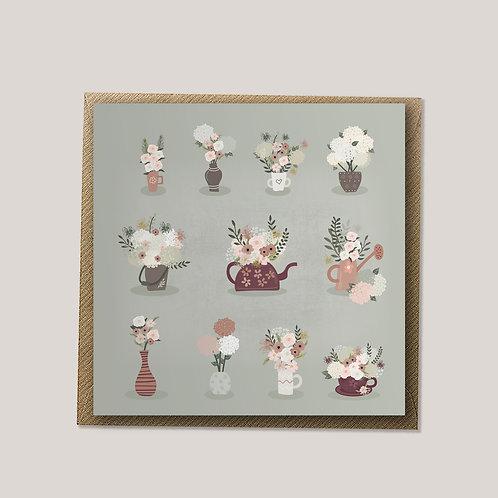 Garden Party - Pots, Floral Card, Birthday Card, Blank Card