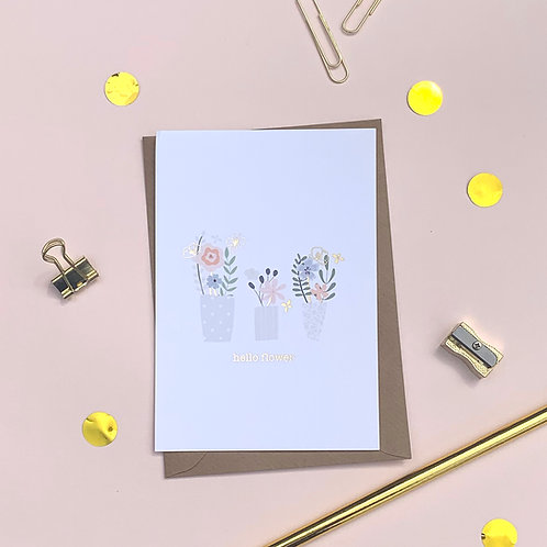 6 Hello Flower - Just a Note Card, Thank You Card, Birthday Card