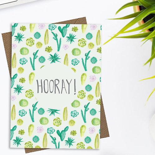 Hooray cactus and succulents greetings card, cactus card, fun greetings card