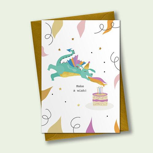 6 Party Dragon - Birthday Card, Celebration Card