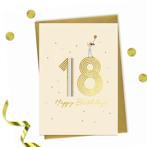 6 of 18 - Happy birthday Card, 18th birthday card