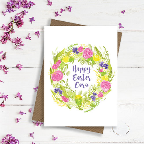 Personalised Easter card, Easter wreath card, Easter money wallet