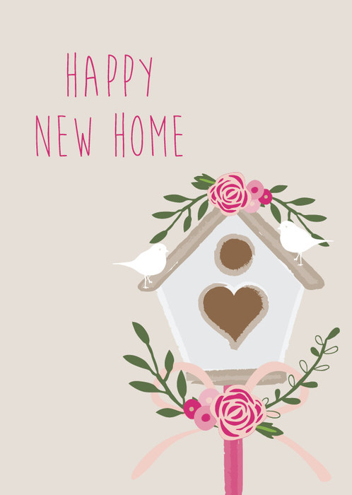 Happy new home card congratulations on your new home moving card new home card featuring a bird house dressed in pretty spring flowers with two birds perched on top m4hsunfo Gallery
