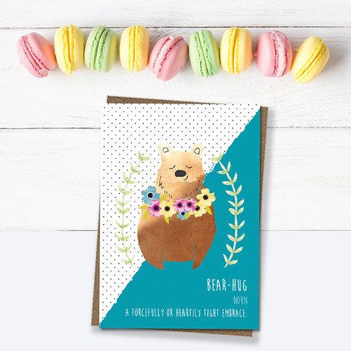 Bear hug card, with love card, card for friend, motivational card