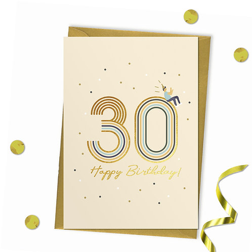 30 - Happy birthday Card, 30th birthday card