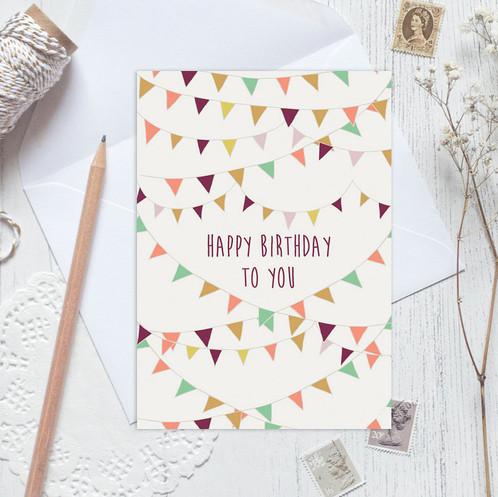 Happy Birthday Card Birthday Card Birthday Bunting Card