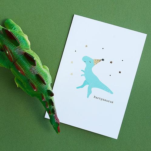 Partysaurus - Birthday Card, Celebration Card, Dinosaur Card