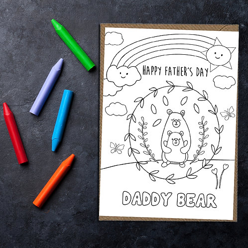 Colour in Father's Day card, Happy Father's Day card, card for dad, card for dad