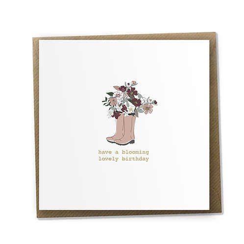 6 Blooming Wellies - Birthday Card, Birthday Wishes, Happy Birthday Card