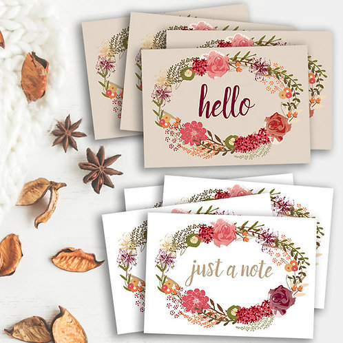 Set of 8 note cards, floral thank you card set, floral wreath note set