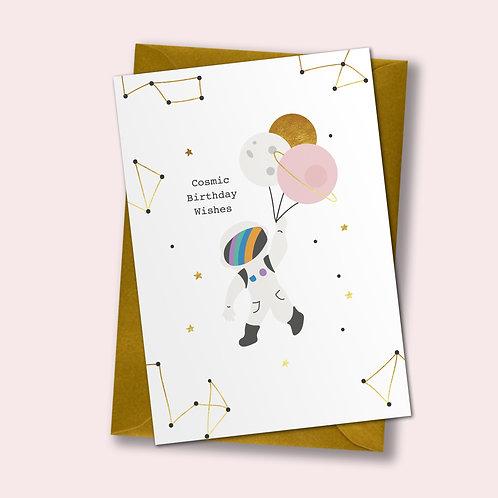 6 Cosmic Wishes - Birthday Card, Astronaut Card