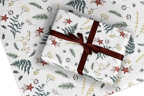 Christmas Wrapping Paper / Gift Wrap - Berry and Bright - White