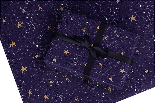 Christmas Wrapping Paper / Gift Wrap - Starry Night - Blue