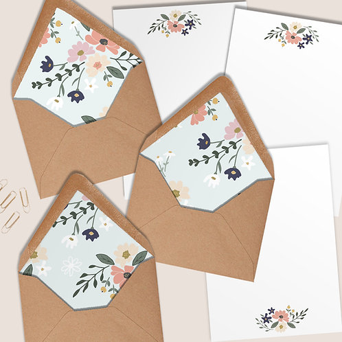 Boxed writing set with 10 lined envelopes and matching writing paper