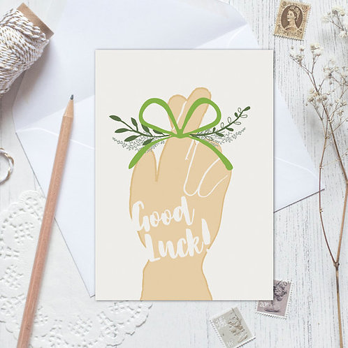 Good luck card, new job card, thinking of you card, fingers crossed
