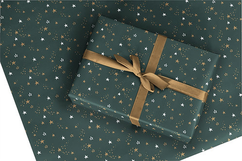 6 Christmas Wrapping Paper / Gift Wrap - Starry Night - Pine