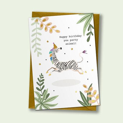 6 Party Zebra - Birthday Card, Celebration Card