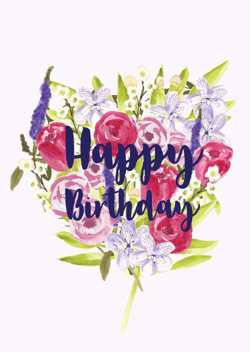 Happy birthday card birthday card floral birthday card mum a big bouquet of spring flowers spray out on the card with the words happy birthday written on top bookmarktalkfo Image collections