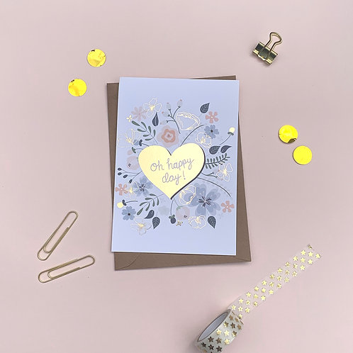 6 Oh Happy Day - Congratulations Card, Wedding Card, Engagement Card, Cele