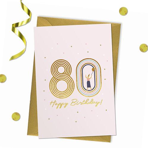 80 - Happy birthday Card, 80th birthday card