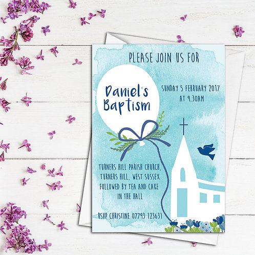 Personalised Christening invite, personalised naming day invite