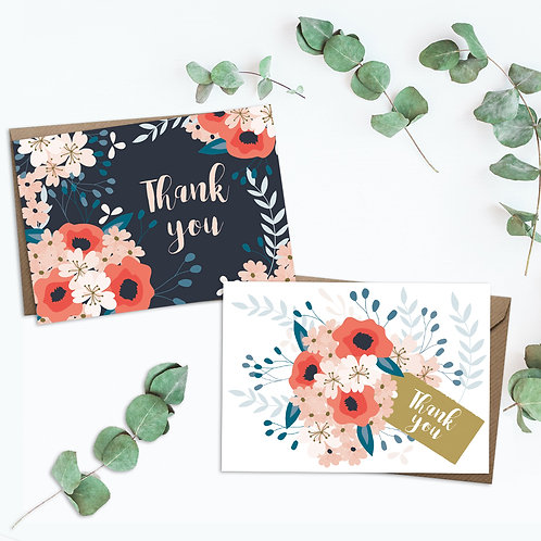 Set of 8 thank you cards, floral thank you card set, thank you card
