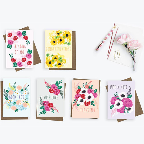 Set of 6 greetings cards, thank you card, congratulations card, with love card