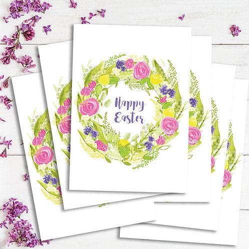 Happy Easter cards, set of Easter cards, Easter wreath cards