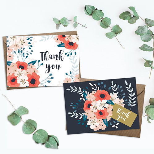 Set of 8 thank you cards, floral thank you card set, thank you card, thank you