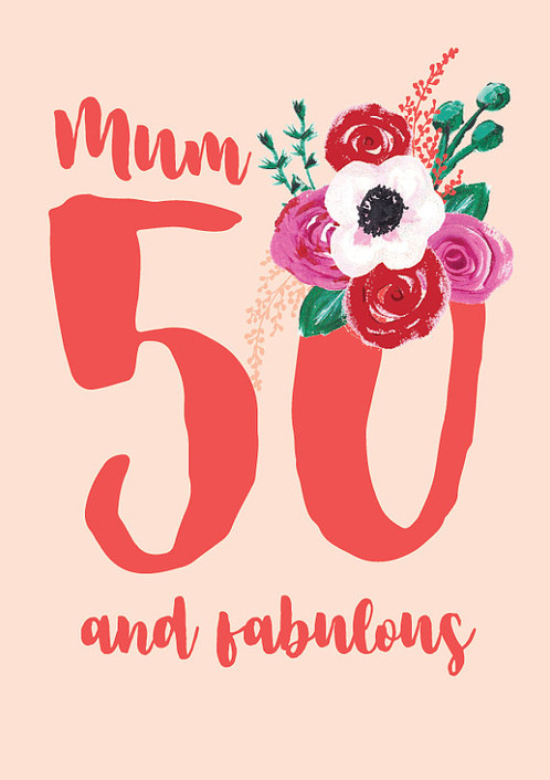 A Beautiful Posy Of Flowers Adorn This Pretty 50th Birthday Card Soft Pinks And Bright Reds Make Stand Out Bouquet