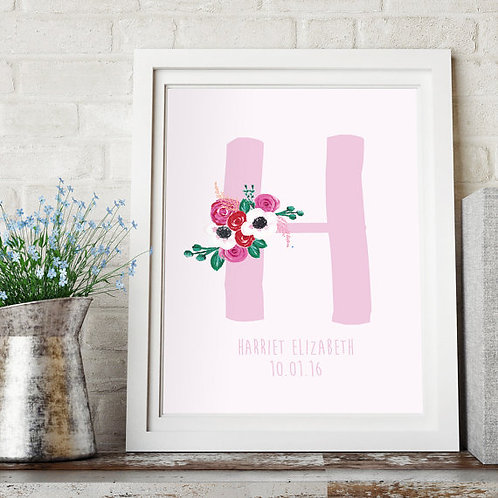 Customisable nursery print for new baby, new baby gift, nursery print