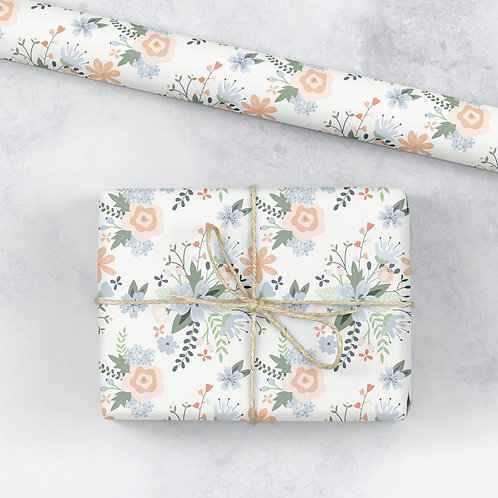 Floral birthday wrapping paper, gift wrap, birthday gift wrap