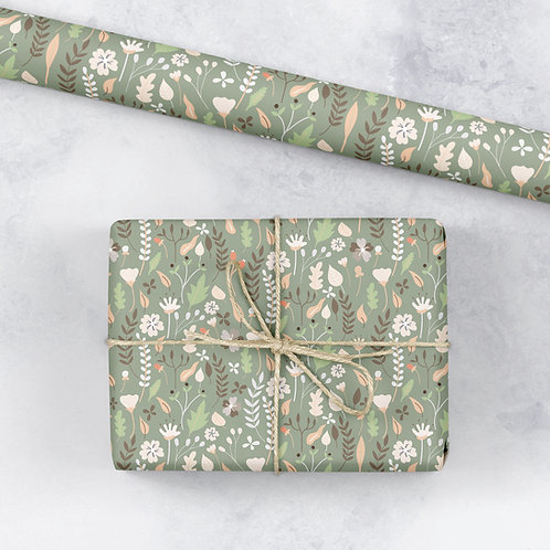 6 Floral Wrapping Paper / Gift Wrap - Blooming Marvellous - Ditsy Sage