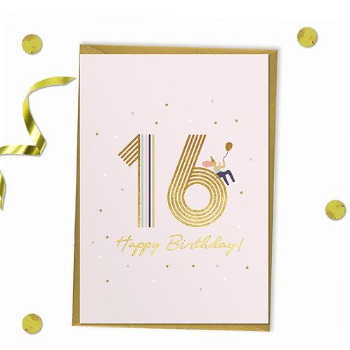 6 of 16 - Happy birthday Card, 16th birthday card