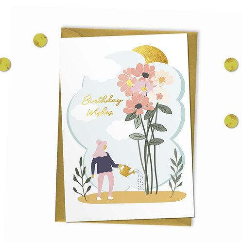 6 Birthday Wishes - Birthday Card, Gardening Birthday Card