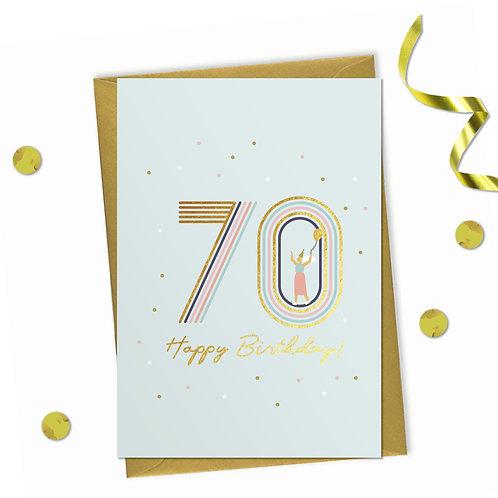 70 - Happy birthday Card, 70th birthday card