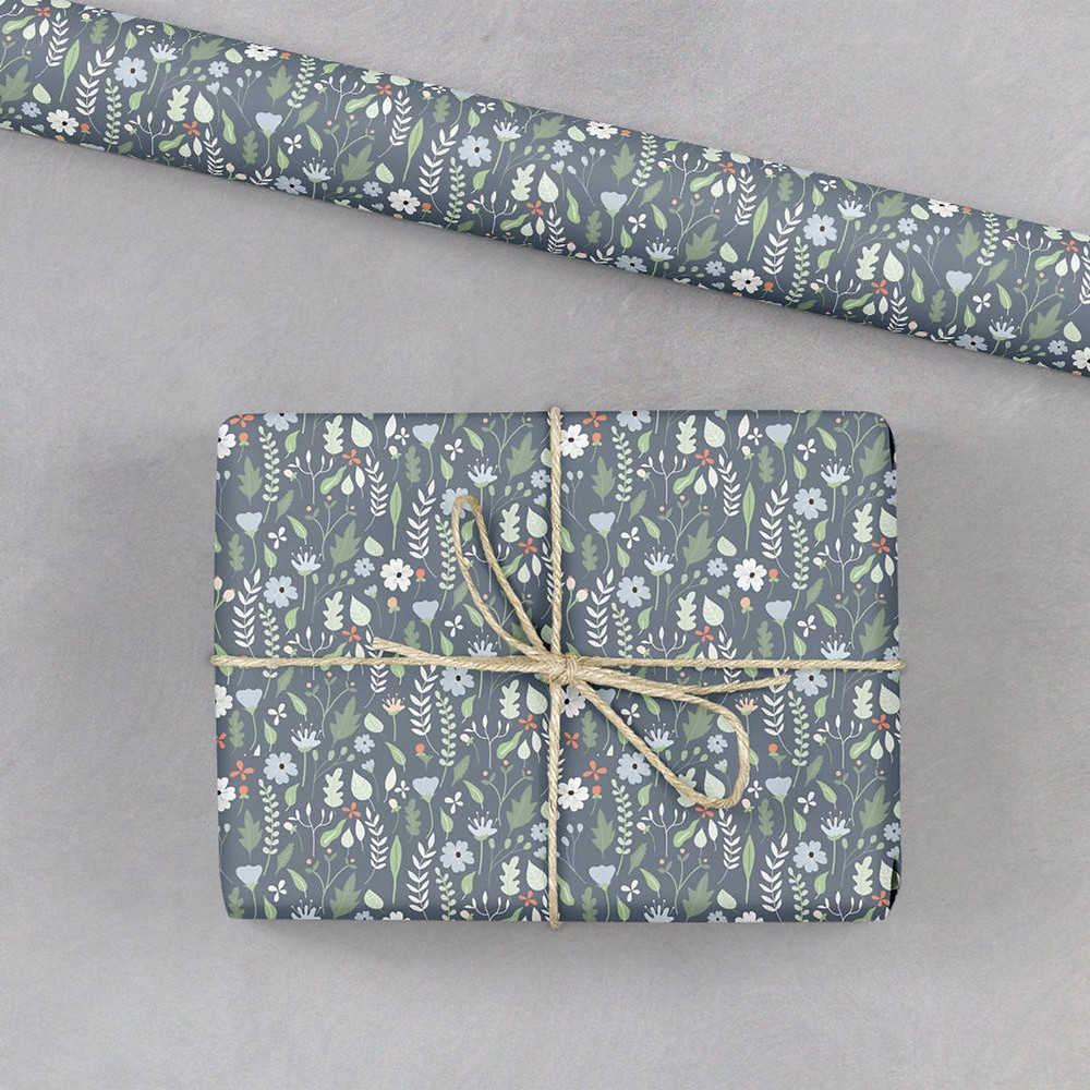 Ditsy blue floral wrapping paper from Christine Gardner