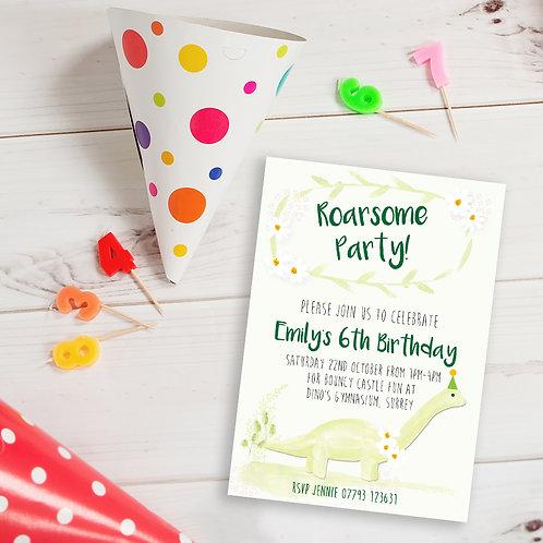 Personalised green dinosaur birthday invite