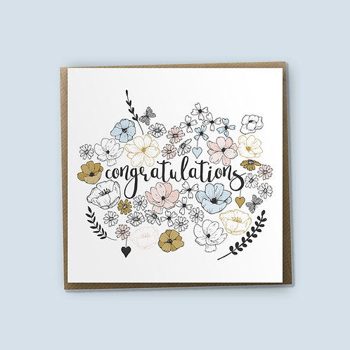 6 Congratulations Card, Well Done Card, Wedding Card