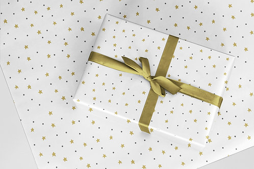 6 Christmas Wrapping Paper / Gift Wrap - Starry Night -White