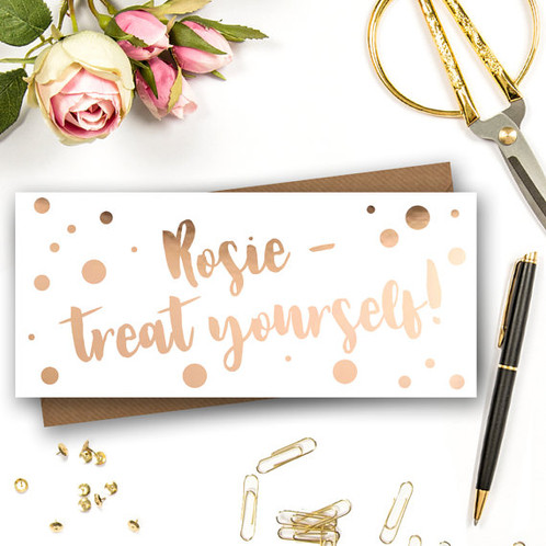 Personalised Money Wallet Perfect Card For The Gift Of Hand Finished In Rose Gold Foil