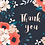 Thumbnail: Set of 8 thank you cards, floral thank you card set, thank you card