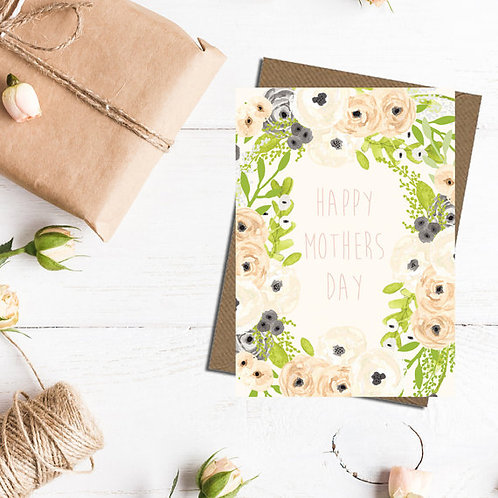 Happy Mothers Day card, mothers day card, floral mothers day card