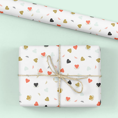 Heart Wrapping Paper / Gift Wrap - Tabitha's Garden - Bright Hearts