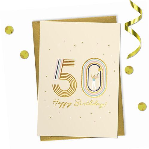 50 - Happy birthday Card, 50th birthday card