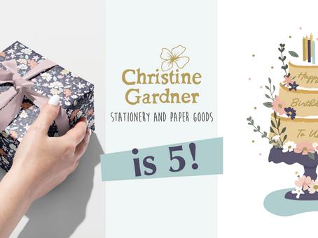 Christine Gardner Design Studio is 5! Read my story...