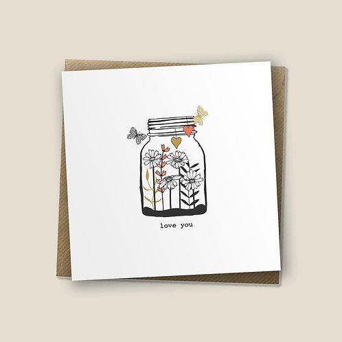 6 Jar Of Love - Love You Card, Anniversary Card, Wedding Card, Encourageme