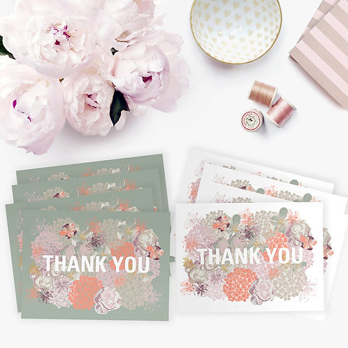 Set of 8 thank you cards, floral thank you card set