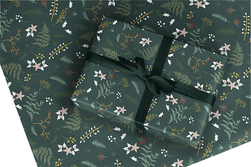 6 Christmas Wrapping Paper / Gift Wrap - Berry and Bright - Pine